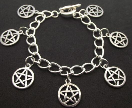 Pentacle Bracelet Vintage Silver Wiccan Charm Infinity Pentagram Beads Cuff Bracelet Anklets Jewelry Women Gifts Accessories E01