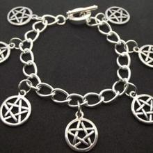 Brazalete con Pentáculo de plata Vintage Wicca encanto infinito pentagrama pulsera de muñeca con cuentas tobilleras joyería de las mujeres regalos accesorios E01