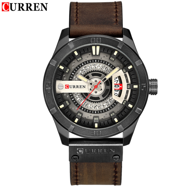 CURREN Men Watch Fashion Creative Dial Red Leather Strap Wristwatch Casual Sport Waterproof Watch Relogio Masculino 2019