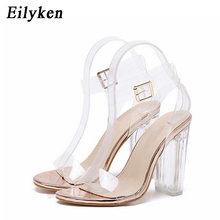 Eilyken Women Sandals Ankle Strap Perspex High Heels PVC Clear Crystal Concise Classic Buckle Strap High Quality Shoes size35-42