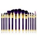 Profissional 15 pcs Set Make up Brushes Marca Escova Cosmética Make up Tools Kit Branco/roxo Nenhum Logotipo