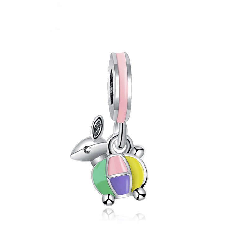 Btuamb européen Maxi émail mignon lapin cristal fleur amour coeur perles ajustement Pandora Bracelets femmes faisant des bijoux cadeau fait main