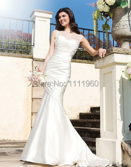 Form Fitting Wedding Dresses With Sweetheart Sheer Neck Cap