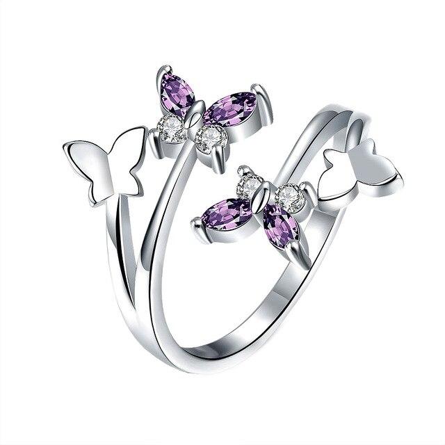 2018 New Fashion Light Purple Rhinestones Asymmetry Butterfly
