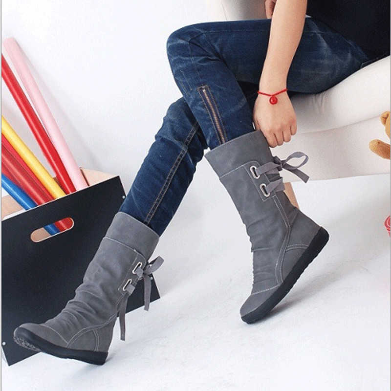 Tangnest 2019 Neue Mid-Kalb Stiefel Frauen Mode Plattform Stiefel Slip On Lace-up Solide Flache Heels Damen casual Warme Schuhe XWX7001