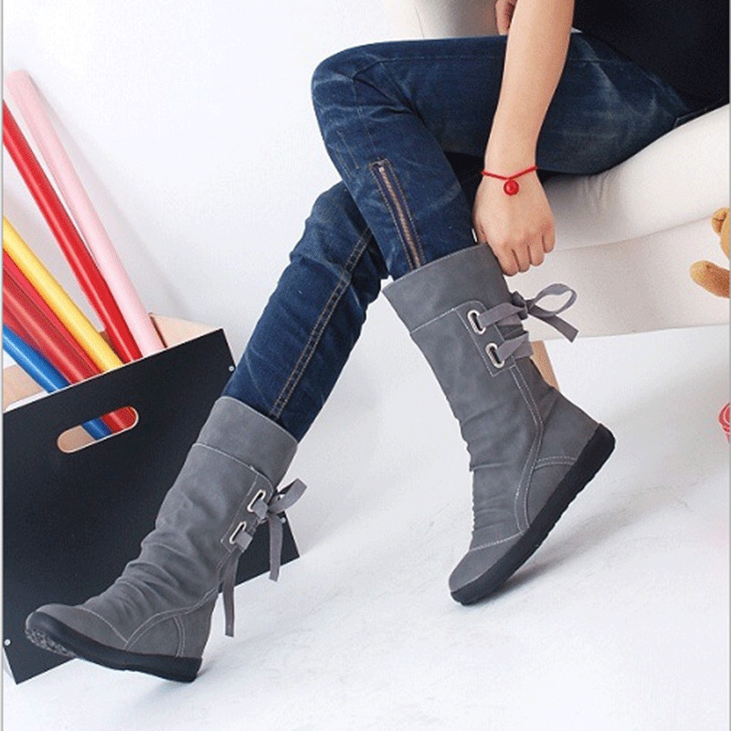 Tangnest 2019 New Mid Calf Boots Women Fashion Platform Boots Slip On Lace up Solid Flat