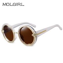 MOLGIRL Retro Round Sunglasses Women Transparent Frame Female Metal Hollow Sun Glasses Brand Design Vintage Gafas De Sol UV400