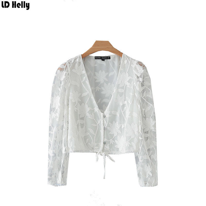 LD Helly 2019 Women Floral Embroidered White Blouse Female V-Neck Long Sleeve Drawstring Tie Crop Tops Shirts Blusas Mujer image