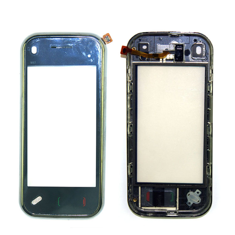 Black Touch Screen Digitizer Front Glass Lens Part With Frame For Nokia Mini N97 Repair Parts Replacement