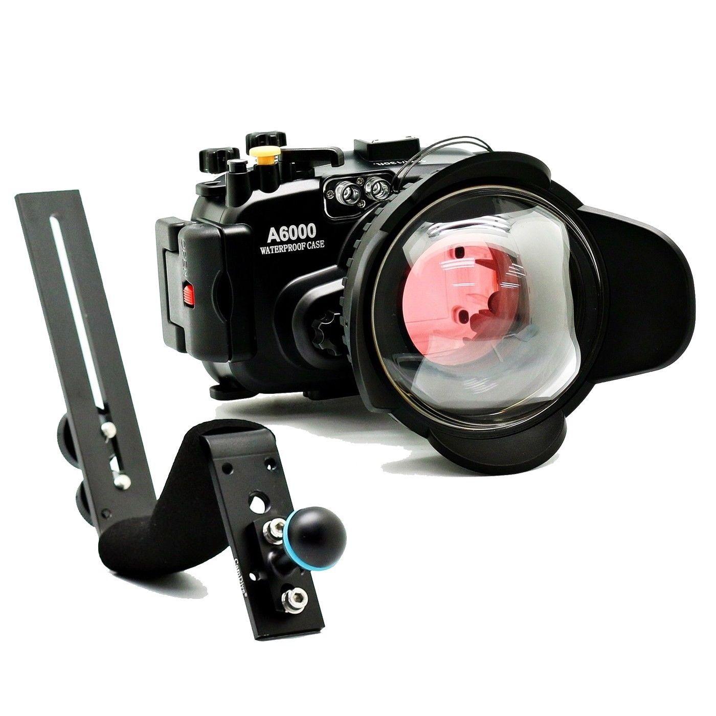Meikon 40 M 130ft Untuk Sony A6000 16 50 Kamera Bawah Air 6000 With Lensa Mm F 35 56 Limited Perumahan Wide Angle Dome Port 67mm Diving Filter Merah Di Camera Video Bags Dari
