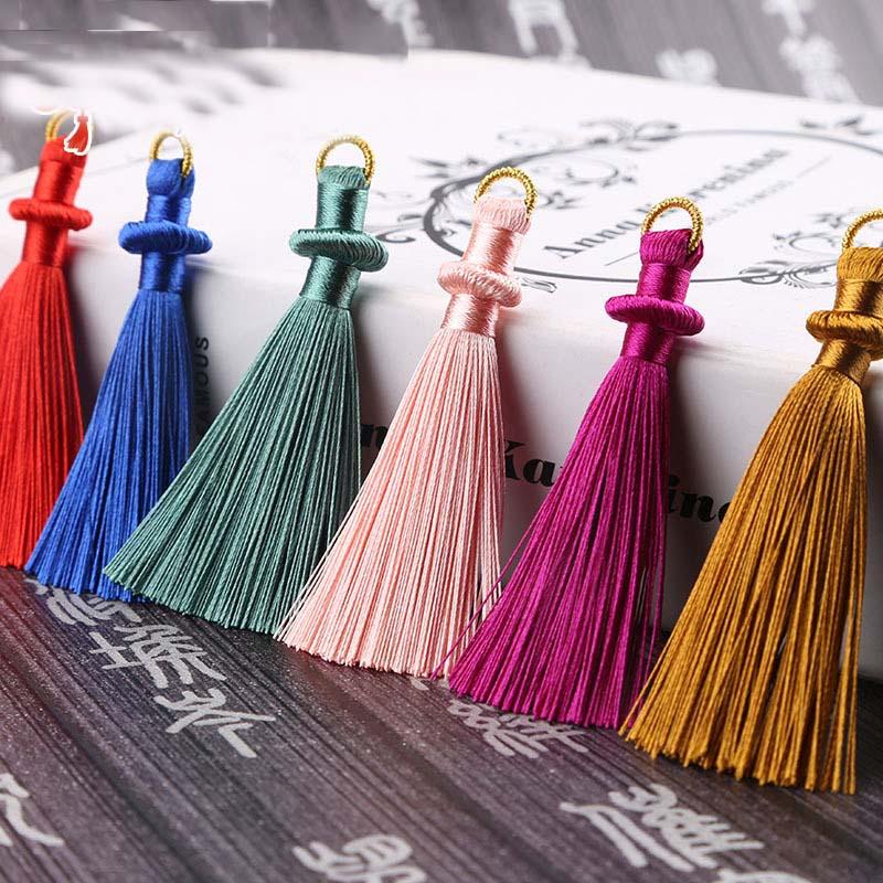 Mibrow 5pcs/lot 8cm Long Multicolor Cotton Silk Tassel Cords For Earrings Charm Pendant Satin Tassel Jewelry Making Findings