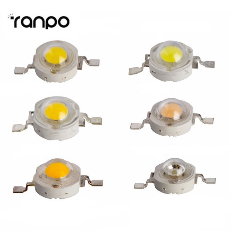 50PCS/Lot 1W led chips bulb diode lamp High Power Led Spotlight Blue Red Yellow Warm Cool White Colorful Downlight Diode