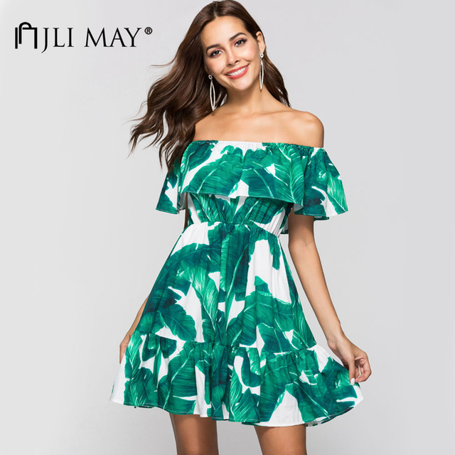 869026c3e1f JLI MAY Summer Sexy Off Shoulder Dress Ruffles Green leaf print Slash neck  short sleeve A