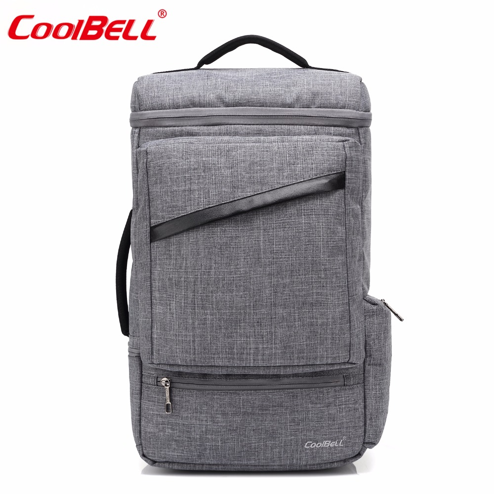 CoolBELL 15.6 Inch Backpack Convertible Laptop Bag Messenger Bag With USB Changing Port Travel Rucksack For Men / Women (Gray)