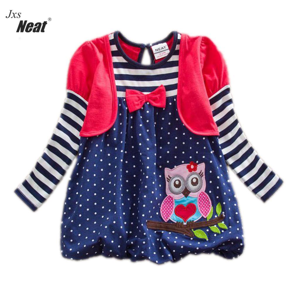 Bébé fille manches longues robe coton brodé printemps et en - Vêtements pour enfants