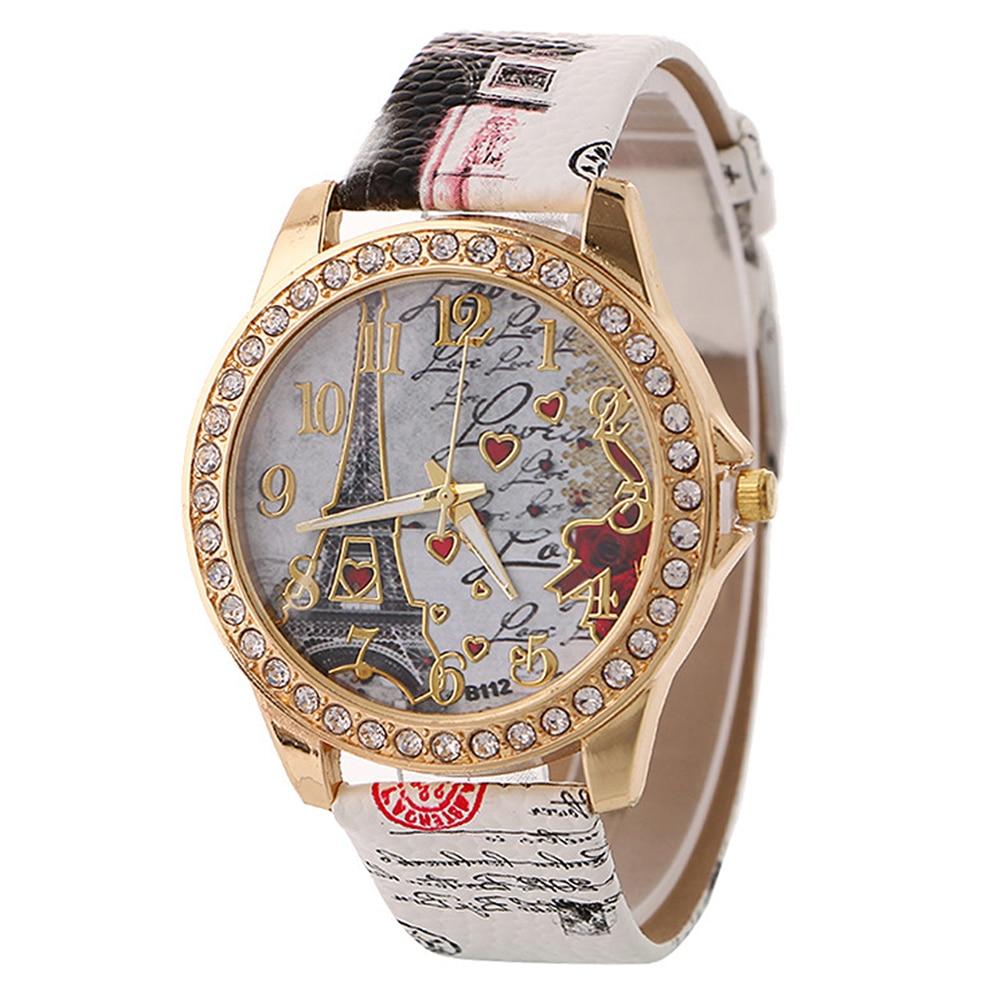 Women Bracelet Watch Fashion Tower Pattern Heart Printed Wristwatch Quartz Ladies Wrist Watches Luxury Designer Relogio Feminino(China)