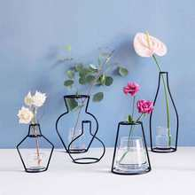Creative Iron Vase Planter Rack Flower Pots Shelf Soilless Pots Organizer Home Party Decoration Vase Dried Flower Ornaments(China)