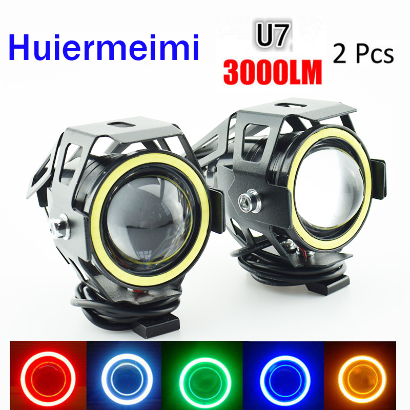 Motorcycle Headlight 12v 125w Motor Fog Lights Auxiliary Driving Lamp Super Bright Spot Headlamp Motorbike Spotlights Waterproof