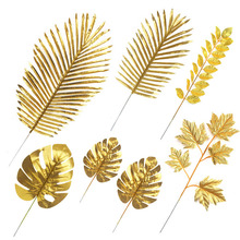 5Pcs Artificial Gold Fabric Turtle Back Leaf Scattered Tail Wedding Decoration For Home Christmas Birthday Palm Leaves
