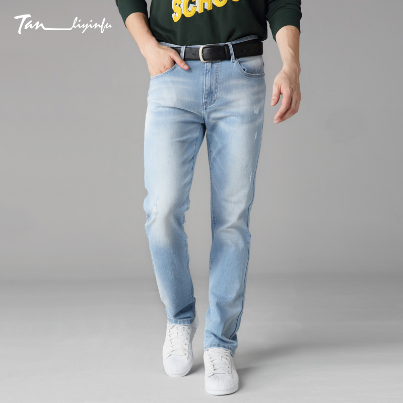 Tanliyinfu men s jeans spring and summer new high quality brand pants Slim elastic pants cotton