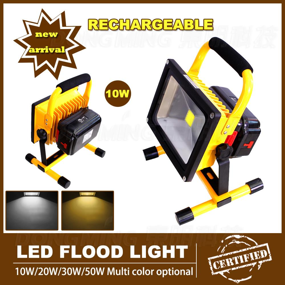 New Powerful 85-265v 10W LED Flood Light Rechargeable Aluminum Flood Light Portable LED Flood lamps with Charger and Battery new 6 18650 battery new powerful lights rechargeable led floodlight 100leds 2400lumen 100w flood lamp portable light