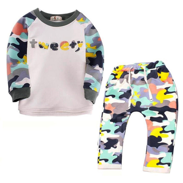 Spring Autumn Children Sets Baby Boys Clothing set Lovely Kids Girls Clothes Long Sleeve Camo Tops + Pant Sets 2pcs