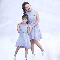 2019 Summer Mom Daughter Clothes Cute Family Look Mother And Daughter Dresses Cotton Mama Girl Mother And Daughter Dress