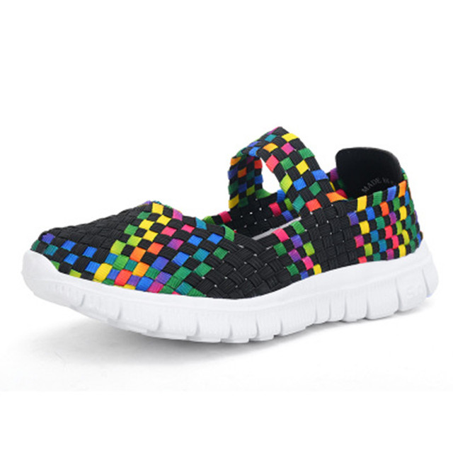 Multi-color Women Weaven Slip On Loafers Athletic Summer Breathable Casual Shoes
