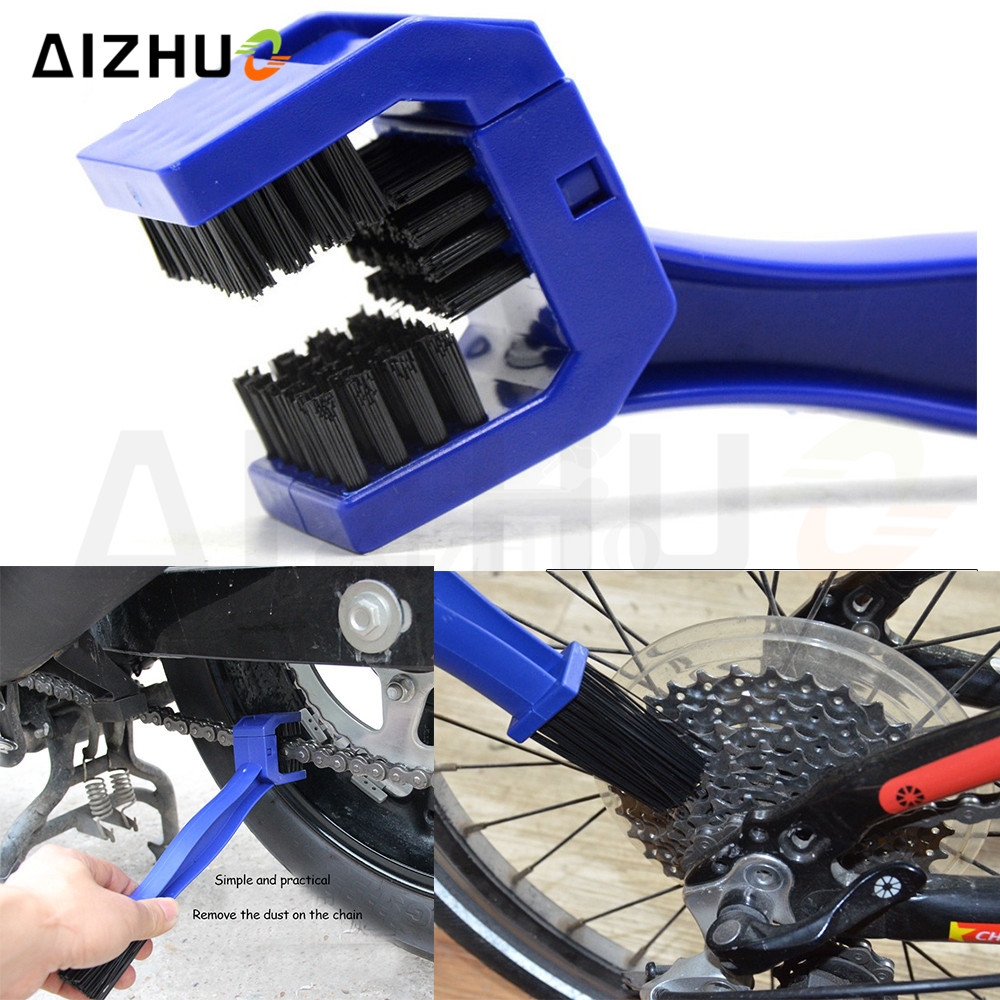 Bicycle Chain Clean Brush Gear Brush Cleaner Outdoor Scrubber Tool FOR KAWASAKI Z650 Z900 ZX9R ZX 6 HONDA CBR600F CBF1000 in Covers Ornamental Mouldings from Automobiles Motorcycles