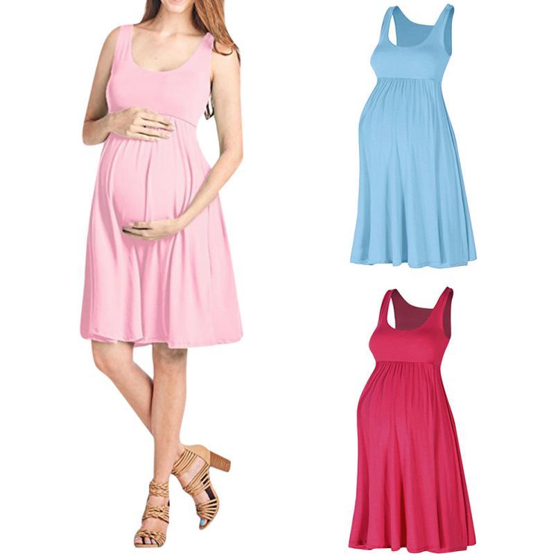 Pregnant Dress Fashion Womens Pregnants O-Neck Sleeveless Nursing Maternity Solid Vest Dress Pregnant Women 18Jun28