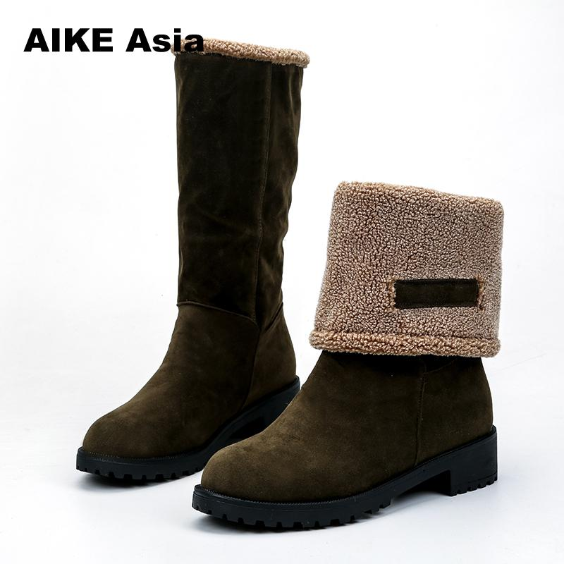 Women Boots Female Winter Shoes Woman Fur Warm Snow Boots Fashion Square High Heels Boots Black Green botas mujer Mid-Calf недорго, оригинальная цена