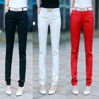 Women's Candy Color Pants Pencil Trousers Spring Autumn Elegant Office Mid Waist Pants For Women Slim Ladies Trousers Female