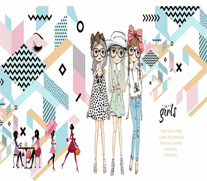 Fashion girl urban geometric minimalist background wall professional making mural wallpaper custom poster photo wall in Fabric Textile Wallcoverings from Home Improvement