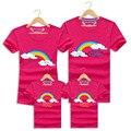 Family summer clothing mirada de la familia arco iris de manga corta t camisas trajes a juego hijo hija de ropa para la madre y el padre