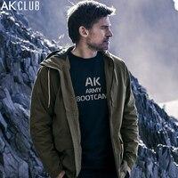 AK CLUB Brand Men Jacket Military Style Vintage Coat Water Repellent Fabric Hooded Jacket Raglan Sleeve