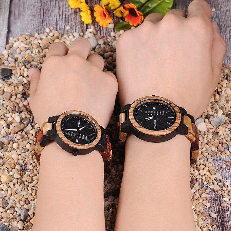 BOBO BIRD Luxury Design Auto Date Handmade Wooden Watch for Men 13