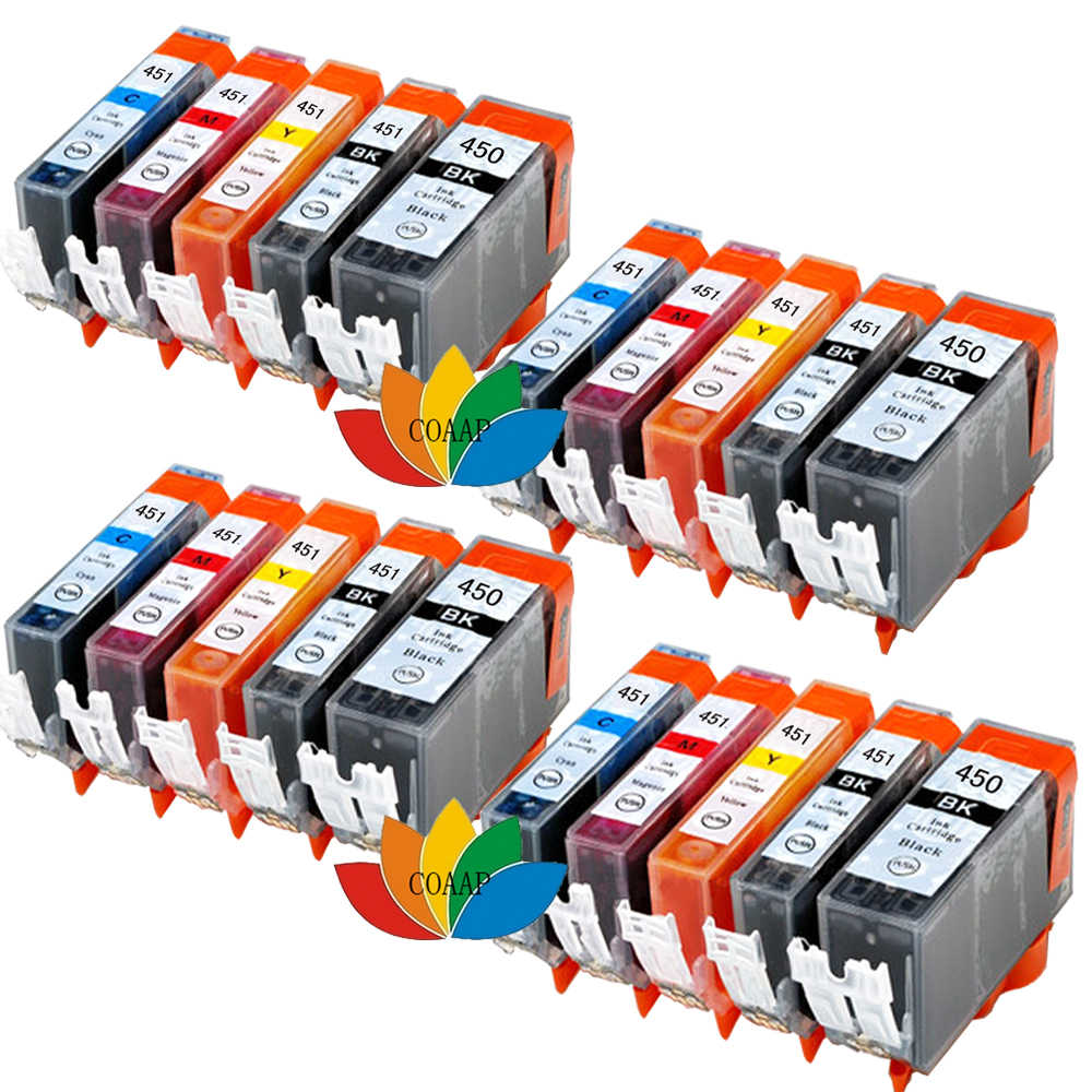 20x Kompatibel Canon 450 451 Ink Cartridge Untuk PGI CLI 450XL IX6840 451XL Untuk PIXMA MX924 MG6340 MG7140 IP7240 Tinta jet Printer