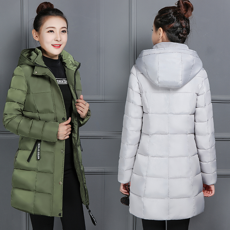 Wadded jacket female medium-long 2017 autumn and winter slim down cotton-padded jacket outerwear