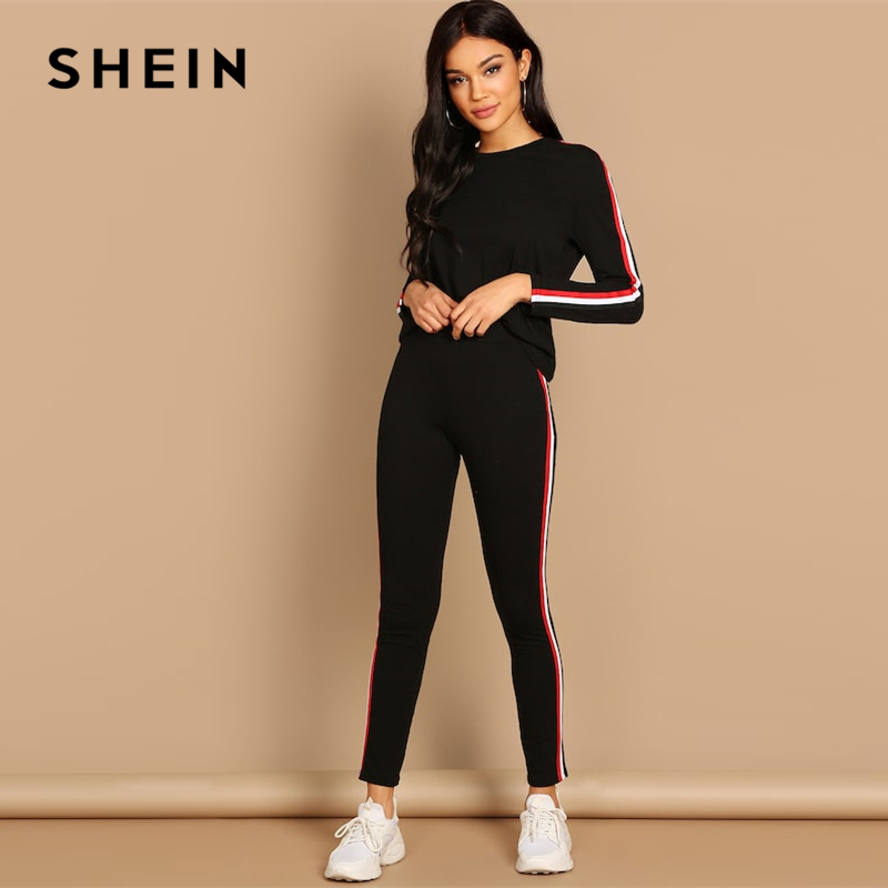 SHEIN Streetwear Black Striped Tape Tee Pants Long Sleeve Round Neck Set Women Two Pieces Sets 2019 Autumn Plain Twopiece 2