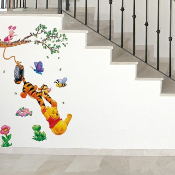 Animal Cartoon Winnie The Pooh Wall Stickers For Kids Rooms