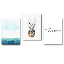 Blue Ocean Love Pineapple Motivational Nordic Poster Print Minimalist Wall Art Canvas Unframed Painting Picture Room Decoration