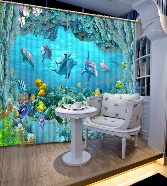3D Curtains For Living Room Underwater World Dolphin Coral 3d Stereoscopic  Blackout Curtains For Bedroom