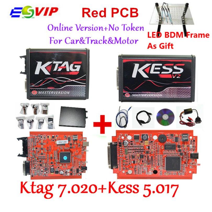 KESS V2 V5.017 V2.23 + KTAG V7.020 V2.23 + LED BDM RAHMEN Keine Tokens Begrenzung KESS 5,017 + K-TAG K Tag 7,020 Verwendet Online ECU programmierer