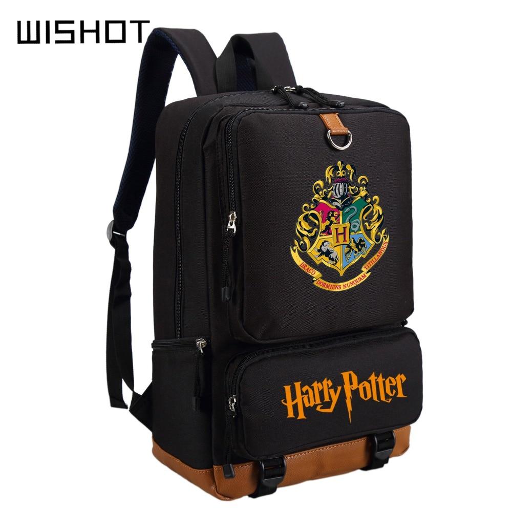 WISHOT Backpack Shoulder-Bags Travel-Bag Potter Hufflepuff Gryffindor Teenagers Harri