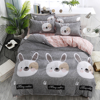 Cute Rabbit Printed Home Textile Printed Bedding Set Bed Cover Bed Sheet Duvet Cover Pillowcase Bed Linen Bedclothes Queen