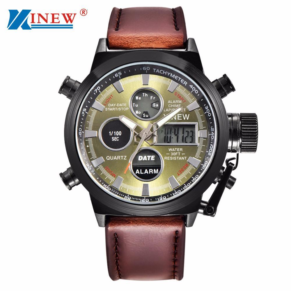 XINEW Mens Watches 2018 Luxury Quartz Sport Clock New Fashion Military Army Watch Men LED Wrist Watch Relogio Masculino /PY 1