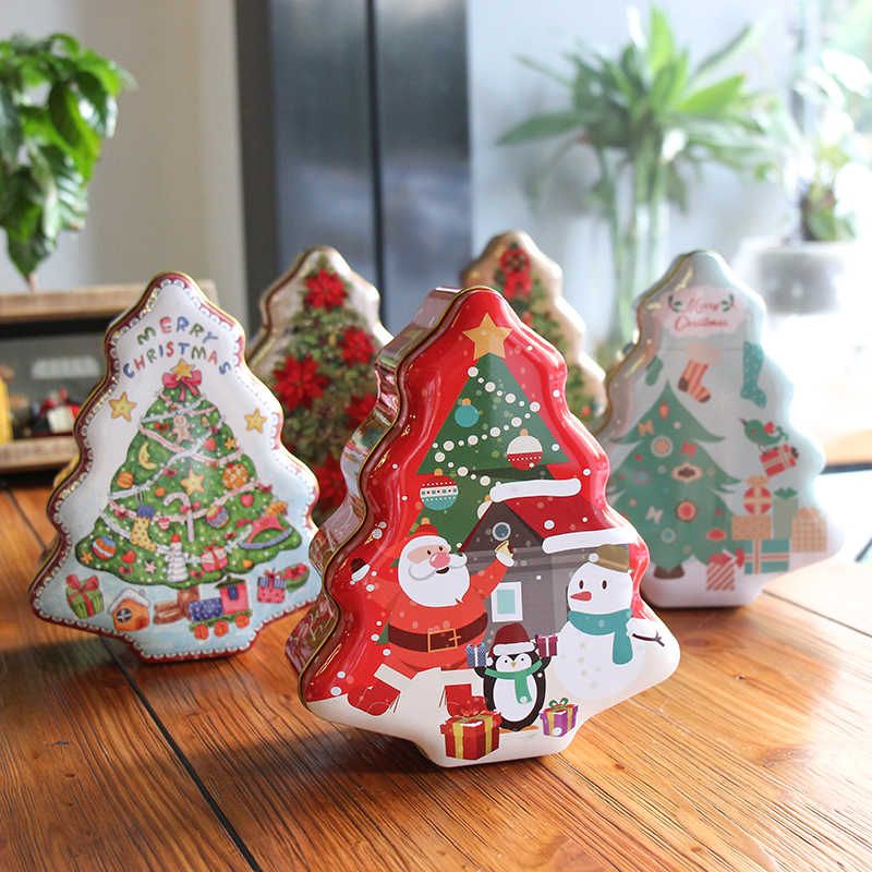 Christmas Tin Cookies.Xmas Tree Shape Tin Box 18x15x6 5cm Christmas Decorations