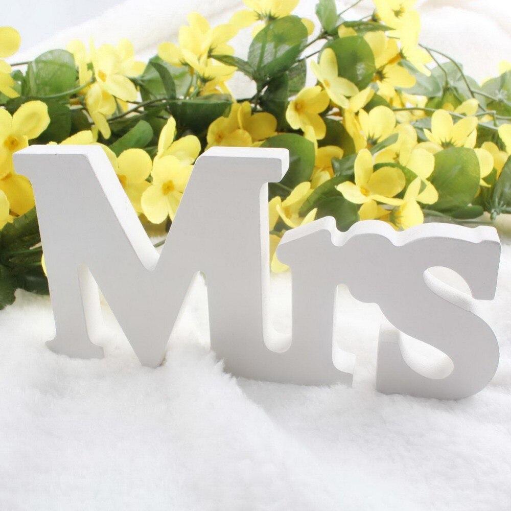 Оптовая продажа 3 шт. Свадебные украшения Mr & Mrs Mariage Декор День рождения украшения белые буквы свадьба знак