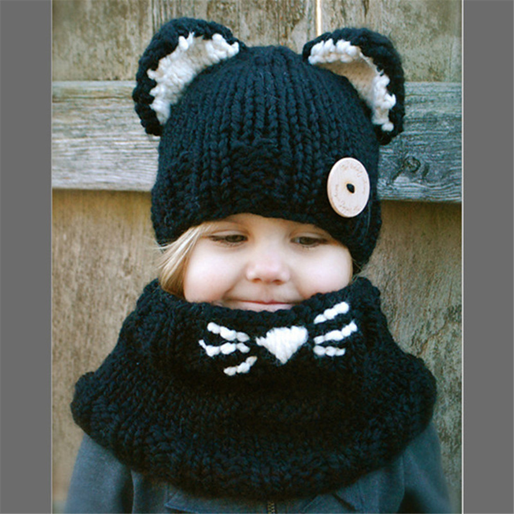 cosplay cat Baby Girl Hat Toddler Baby Boy Hat Knitted ball kids Lovely ball Soft Baby Hats Scarf Bonnet Enfant Baby Winter Hat