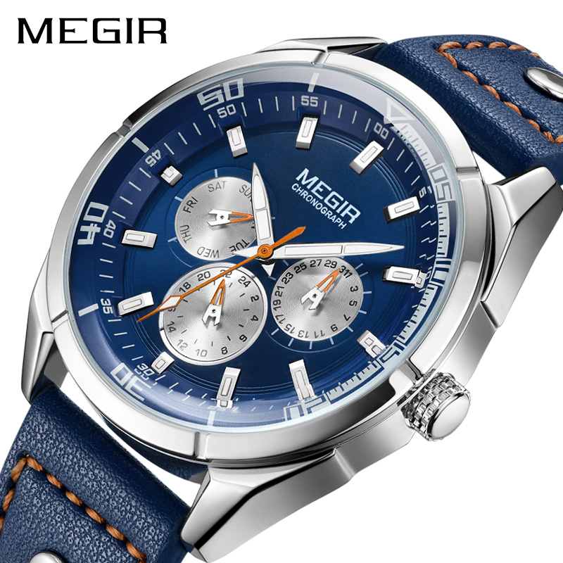 MEGIR Brand Quartz Men Watch Relogio Masculino Leather Strap Military Business Wrist Watches Men Clock Hour Time Erkek Kol Saati megir original watch men top brand luxury quartz military watches leather wristwatch men clock relogio masculino erkek kol saati